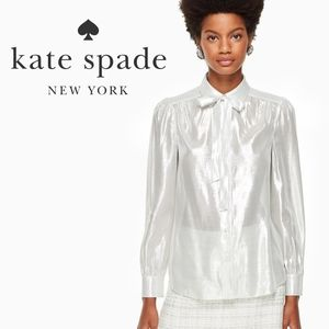 NEW Kate Spade Silver Metallic Star Bright Blouse